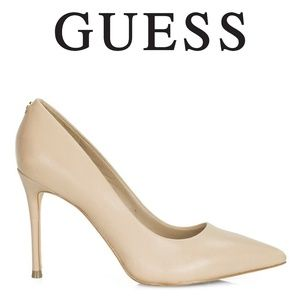 Guess Beige Pointed Leather Stiletto Pump 6M -NWOB